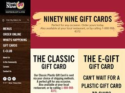 99 Restaurant & Pub gift card purchase