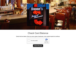 Boone's Fish House & Oyster Room gift card balance check